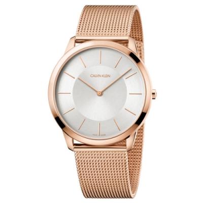 Calvin Klein Minimal 亮金極簡風格米蘭帶腕錶 K3M2T626 (銀白)