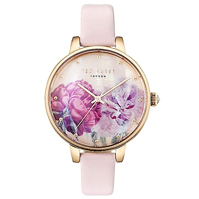 Ted Baker 魅力女伶花漾皮革手錶-花紋X玫瑰金框/36mm