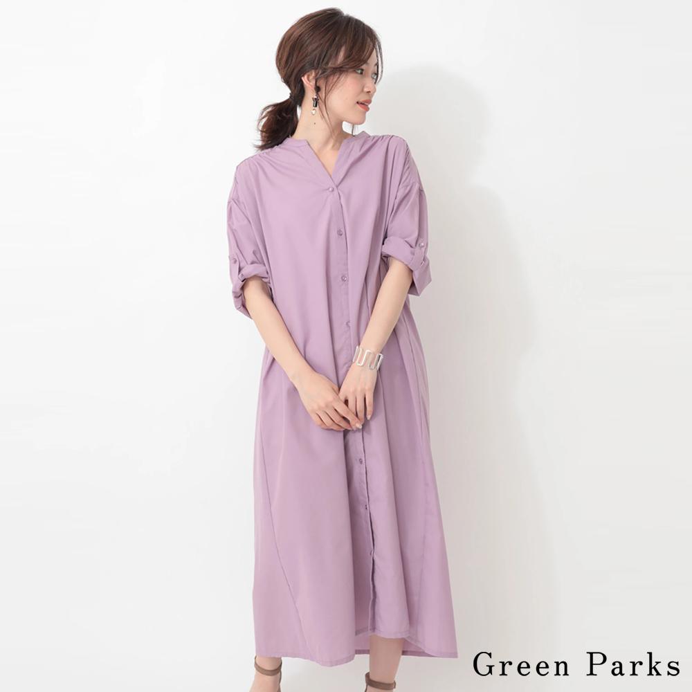 Green Parks 7分袖長襯衫寬鬆連身裙