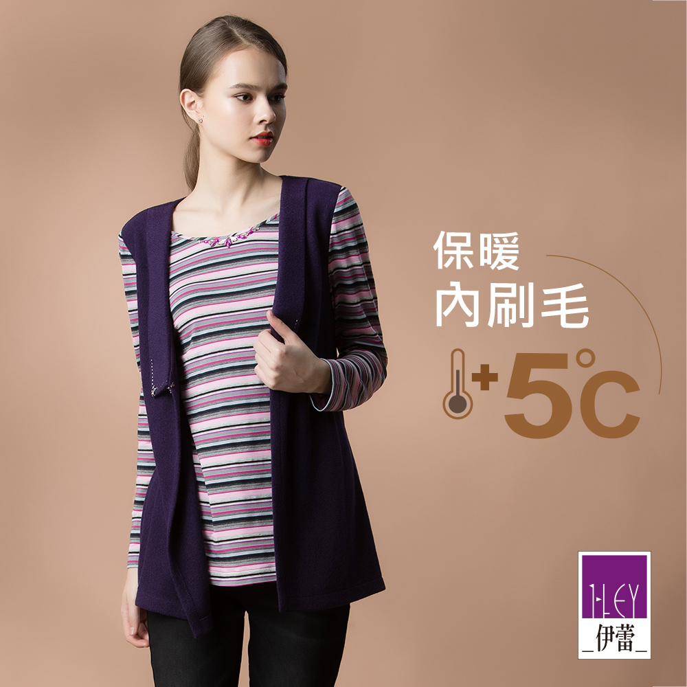 ILEY伊蕾 彈性刷毛假兩件條紋上衣(紫)