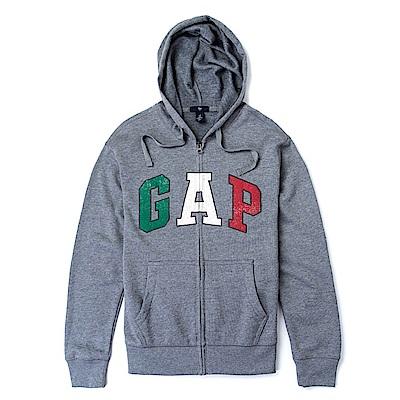 GAP 經典LOGO連帽外套-深灰色