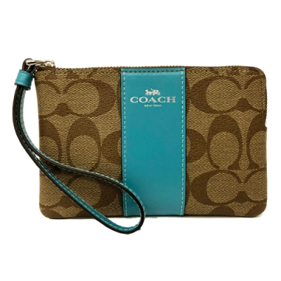 COACH 直紋手拿包零錢包(土耳其藍)