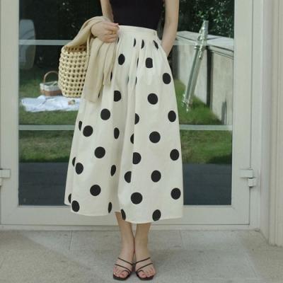 La Belleza後鬆緊腰黑色大圓點大擺裙氣質波點傘擺裙