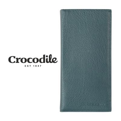 Crocodile 鱷魚皮件 真皮皮夾 男夾 14卡 拉鍊零錢袋 長夾-0103-09901-黑藍兩色