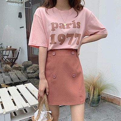 DABI 韓系數字印花T配四扣短裙時尚套裝短袖裙裝