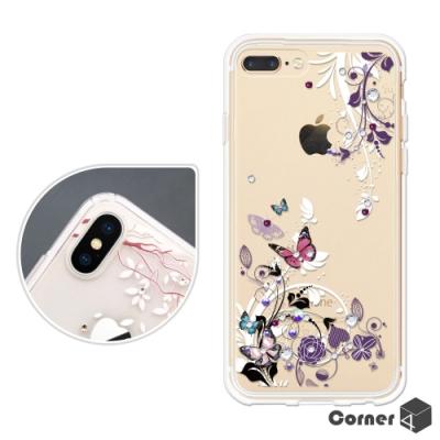 Corner4 iPhone8/7/6s/6 Plus 奧地利彩鑽雙料手機殼-蝶舞