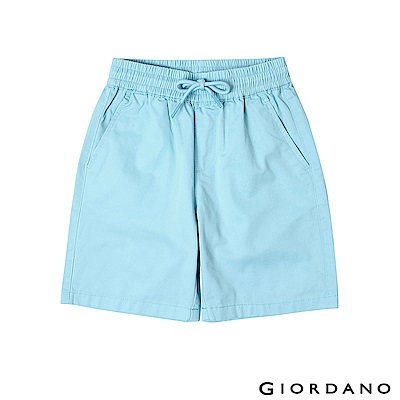 GIORDANO  童裝素色鬆緊腰卡其短褲-90 蔚藍