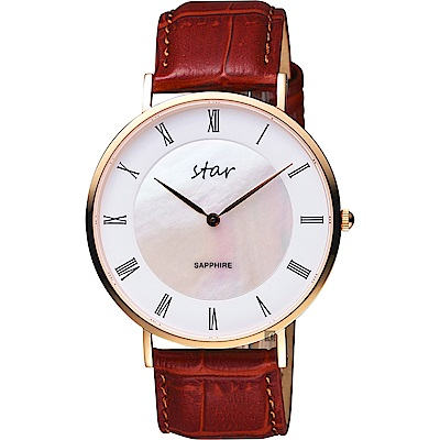 STAR 時代 城市情人羅馬石英手錶-珍珠貝x咖啡x41mm