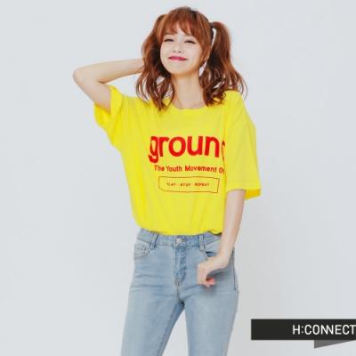 H:CONNECT 韓國品牌 女裝-亮眼印字T-Shirt - 黃(快)