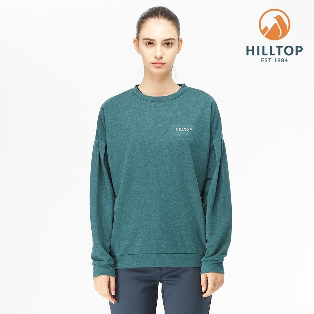 【hilltop山頂鳥】女款POLYGIENE抗菌落肩剪裁保暖刷毛上衣H51FK0海帶綠