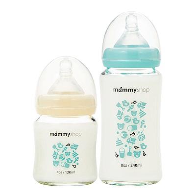 mammyshop 媽咪小站 母感體驗2.0玻璃奶瓶-寬口120+240ml (2色可選)
