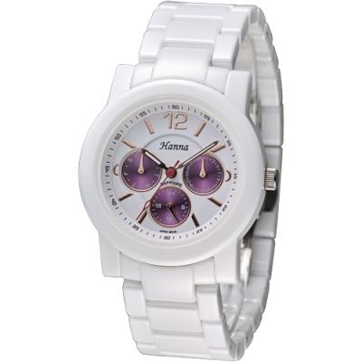 Hanna 巴黎時尚全日曆白陶瓷腕錶-金刻(H6941G-VX3J-6)/38mm