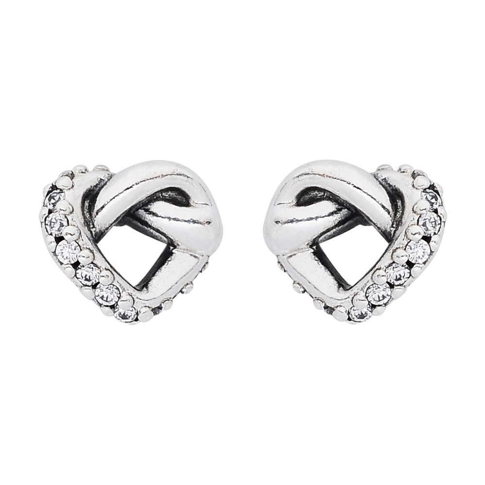 Pandora 潘朵拉 扭結鑲鋯愛心造型 純銀耳環
