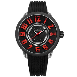 Tendence 天勢表 立體刻度酷炫LED防水矽膠手錶-黑色/51mm