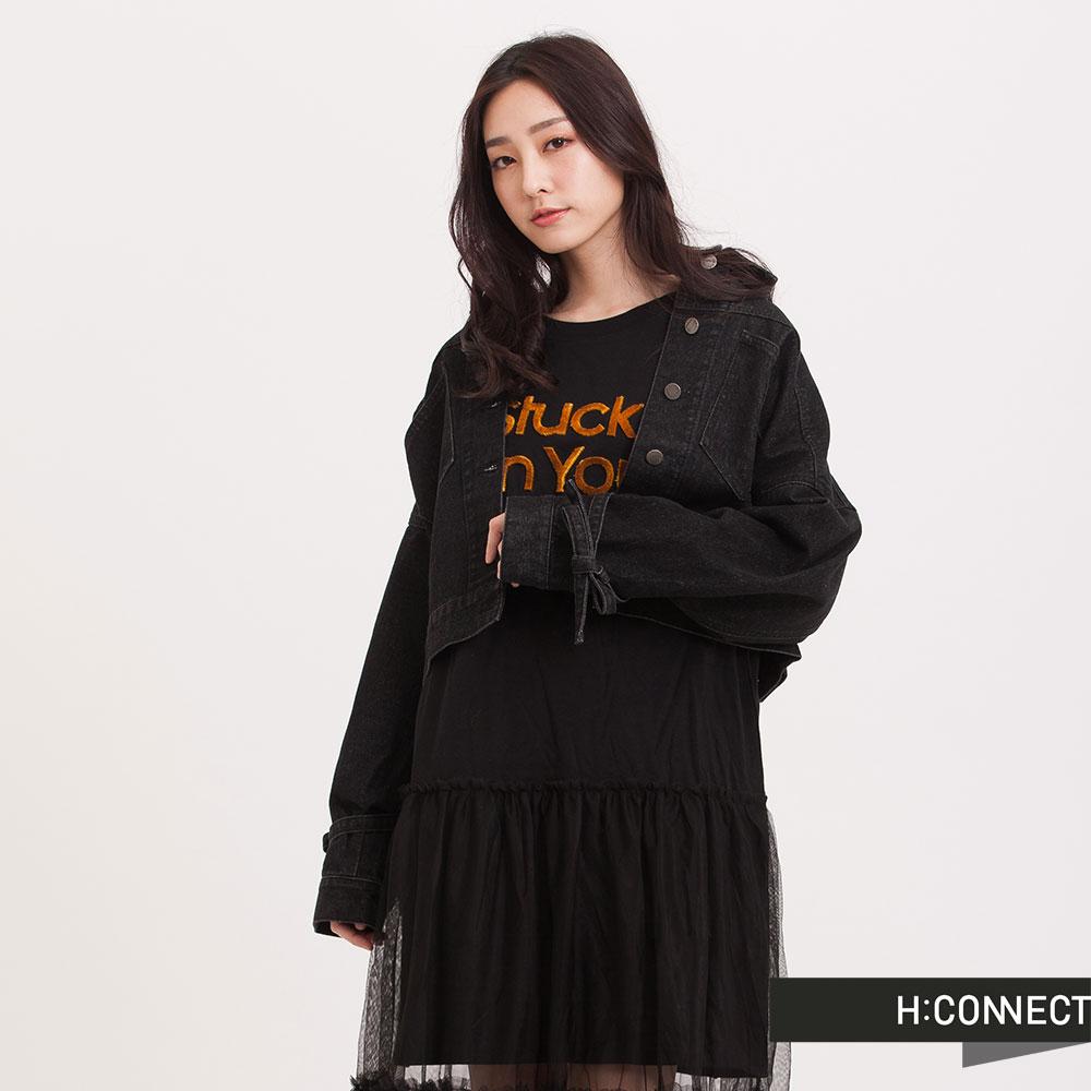 H:CONNECT韓國品牌女裝綁帶短版牛仔外套黑