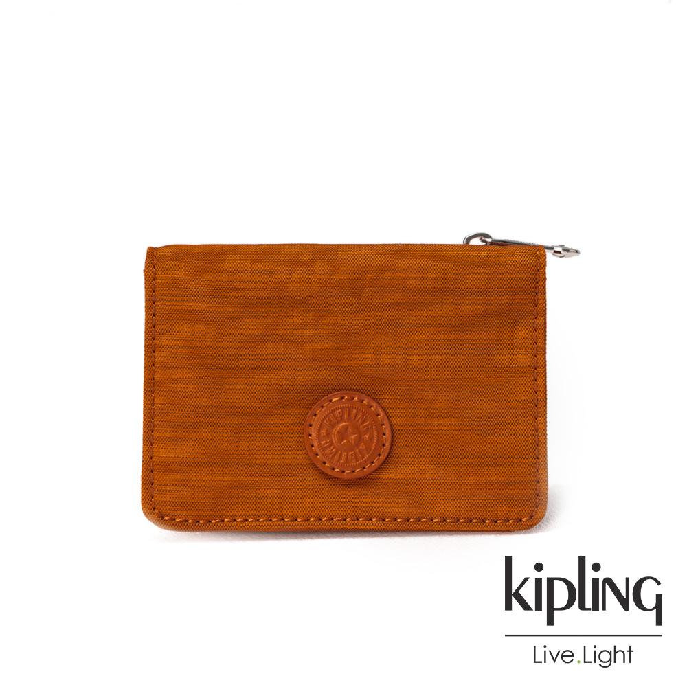 Kipling黃棕素面實用短夾-ALETHEA