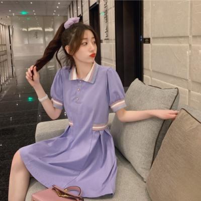 中大尺碼粉藍白羅紋領拼接袖口假口袋收腰棉質POLO衫洋裝L~4XL Ballet Dolly