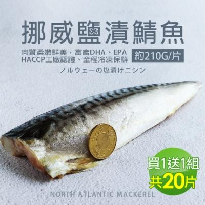 (買1送1組)築地一番鮮-厚片超大油質豐厚挪威薄鹽鯖魚10片(約210g片)免運組