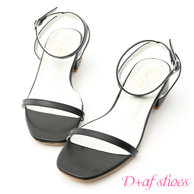 D+AF 夏日步調.一字細帶方頭低跟涼鞋*黑