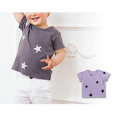 日本雜誌款-星星簡約風短袖T(紫)