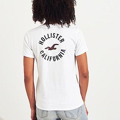 海鷗 Hollister 經典海鷗印刷標誌文字短袖T恤(女)-白色