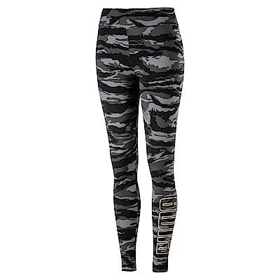 PUMA-女性基本系列迷彩緊身褲-黑色-歐規