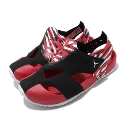 Nike 涼拖鞋 Jordan Flare 套腳 童鞋 喬丹 輕便 魔鬼氈 舒適 中童 穿搭 黑 紅 CI7849016