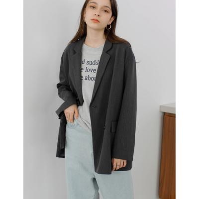 THG 韓版寬鬆簡約垂重質感chic網紅小西裝外套- 灰/黑