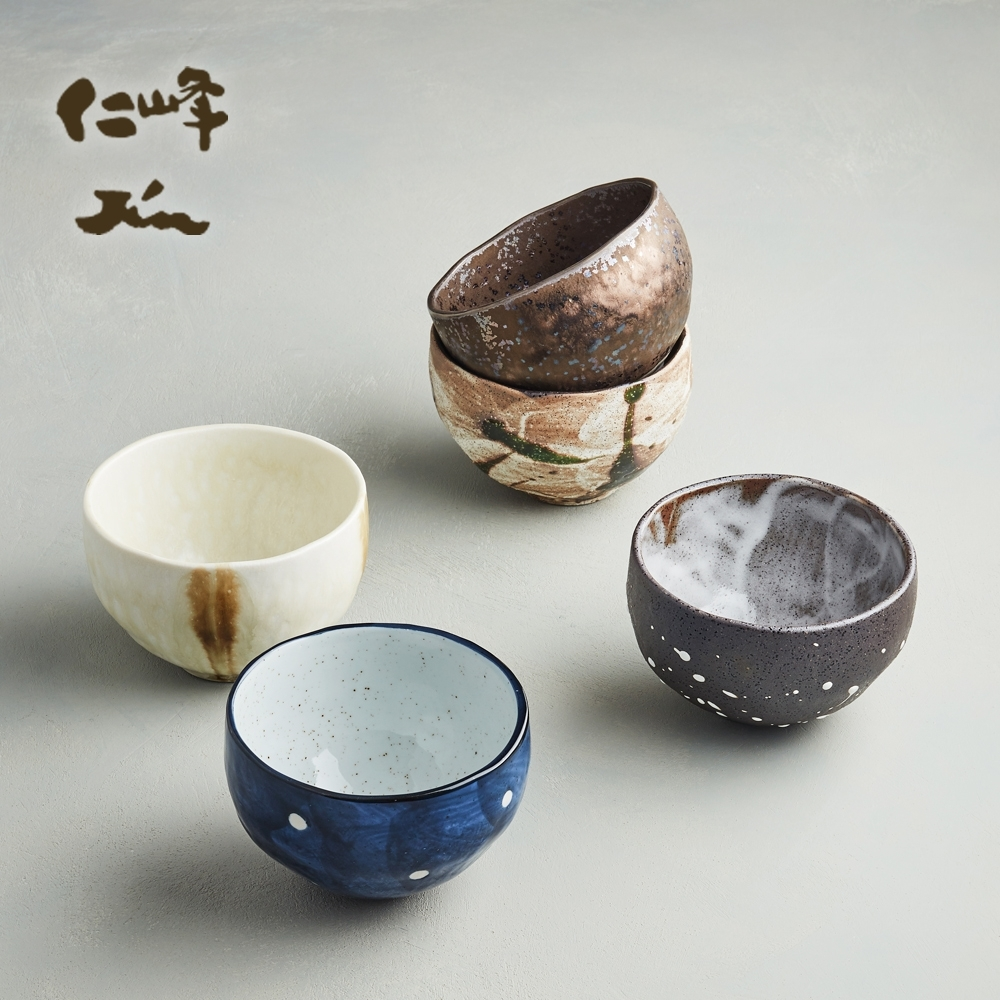 有種創意 日本美濃燒 -禪風釉燒小丼碗組12.5cm (5件式)