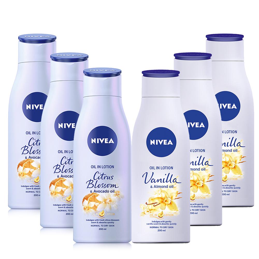 妮維雅植物精華油身體乳200ml - 清新橙花香x3+甜美香草香x3