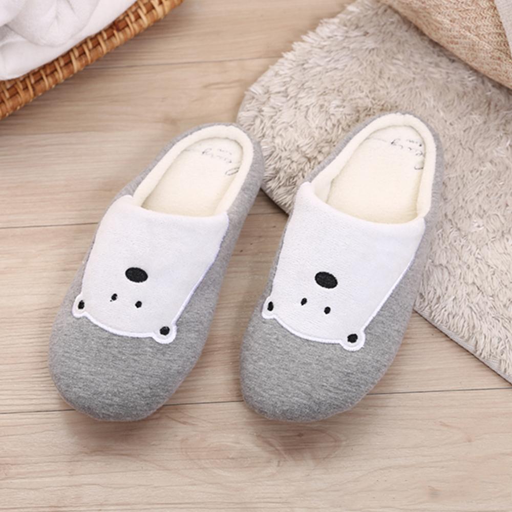 333家居鞋館 兒童款★柔軟北極熊室內布拖鞋-灰