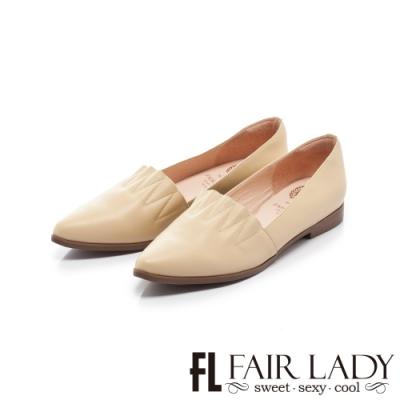 FAIR LADY 懶骨頭 波紋縫線皮革尖頭平底鞋 黃
