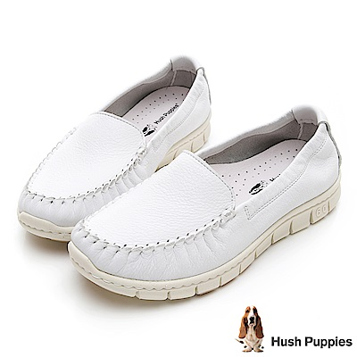 Hush Puppies Petrel 柔軟牛皮懶人鞋-白色