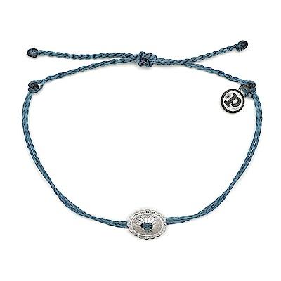 Pura Vida 美國手工 銀色波希米亞風 藍色臘線可調式防水手鍊 衝浪手繩