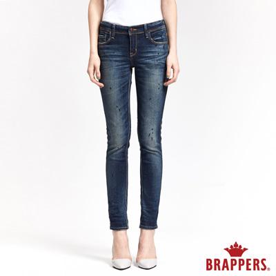 BRAPPERS 女款 新美腳ROYAL系列-女用彈性中低腰噴漆窄管褲-藍