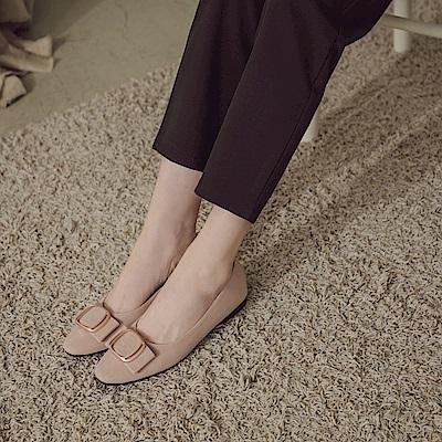 台灣製造~秀氣小方頭金屬裝飾絨面平底鞋-OB大尺碼