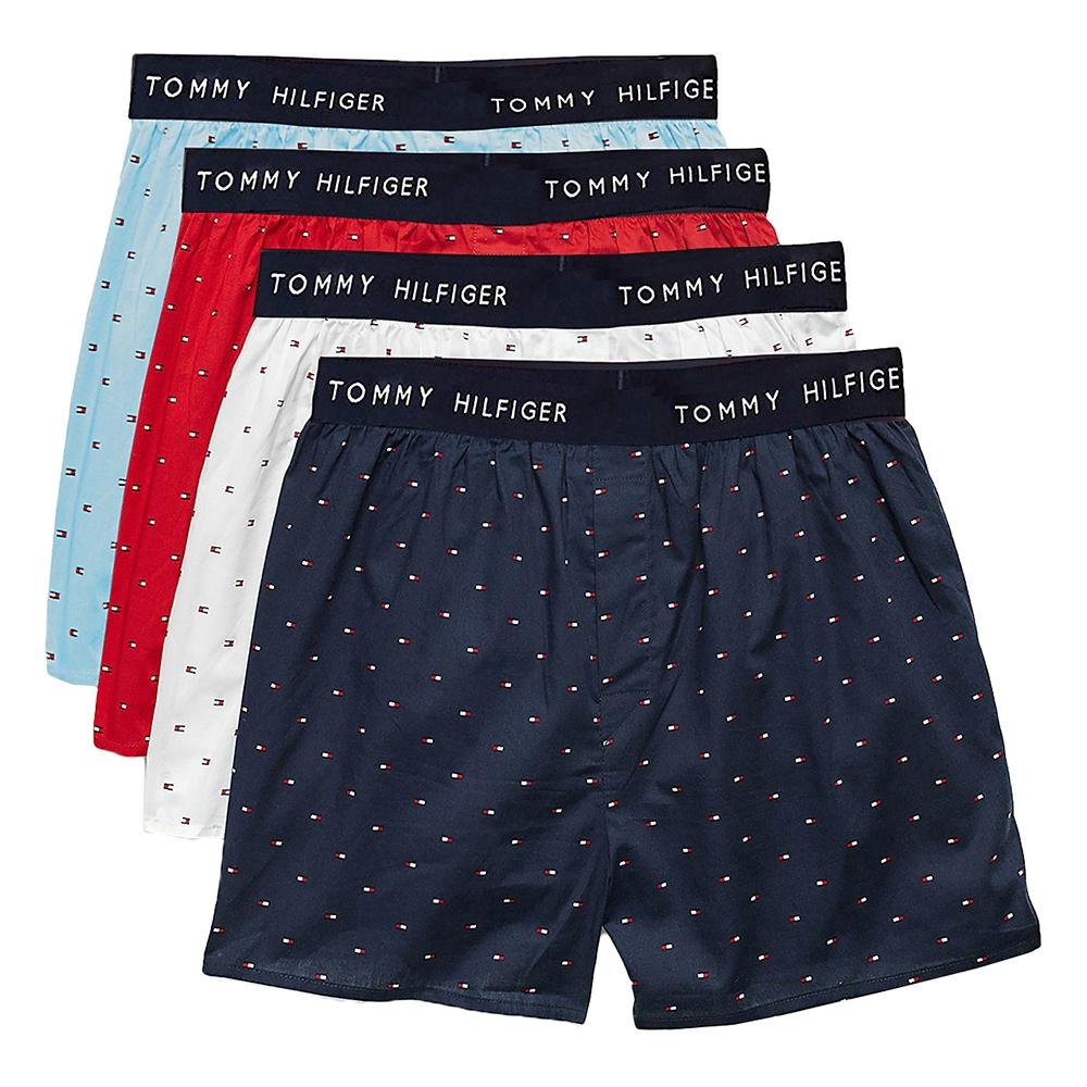 Tommy Hilfiger Cotton Classics 棉質寬鬆平口四角褲/Tommy內褲-精美盒裝 四入組