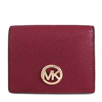 MICHAEL KORS FULTON金字Logo鵝卵石紋全皮革短夾(紅莓果色)