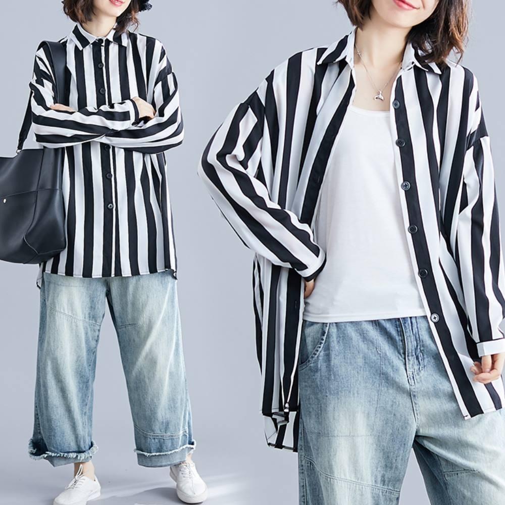 La Belleza雙色粗直條紋寬鬆落肩連袖長版滑料襯衫