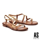 涼鞋 AS 金屬蛇紋S曲線全真皮低跟涼鞋-咖 product thumbnail 1