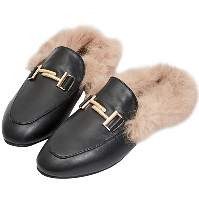 AIR SPACE 金屬扣絨毛穆勒鞋(黑)