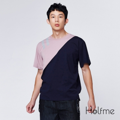 Halfme-膠印海軍拼接上衣-男