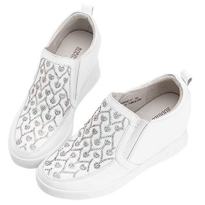 Robinlo & Co.浪漫愛心牛皮內增高休閒鞋 白