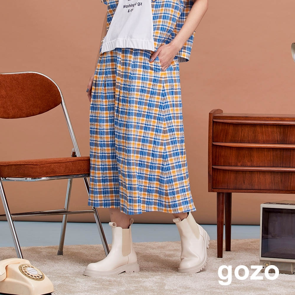 gozo-個性格紋棉質傘裙(兩色)