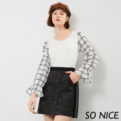 SO NICE奢華小香風印花羅馬布短裙