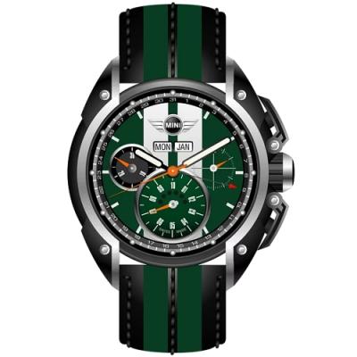 MINI Swiss Watches 石英錶  45mm 綠底白條三眼計時 綠黑相間真皮錶帶