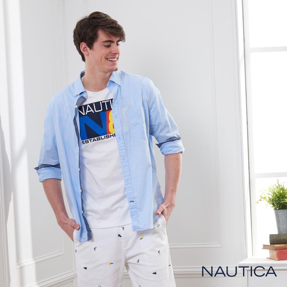 Nautica 經典原色長袖襯衫-淡藍色