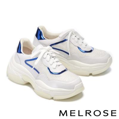 休閒鞋 MELROSE 時尚老爹風異材質拼接綁帶厚底休閒鞋-白
