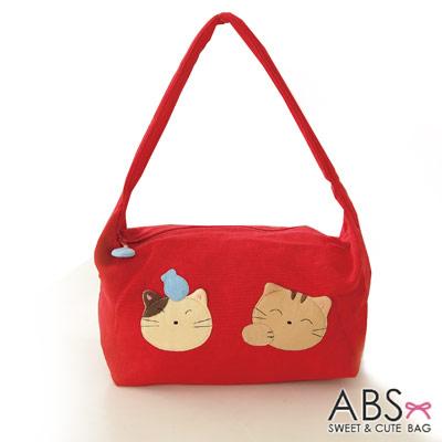 ABS貝斯貓 可愛貓咪手工拼布肩背包 手提包(活力紅)88-021