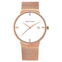 Valentino Coupeau 范倫鐵諾 古柏 時尚極簡設計腕錶【玫瑰/米蘭/白珠】